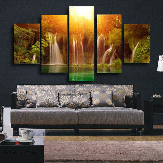 Sunset Waterfall - 5 Piece Set - TheCanvasWarehouse
