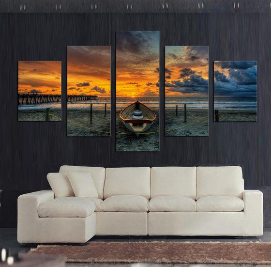 Sunset at the Dock - 5 Piece Set - TheCanvasWarehouse