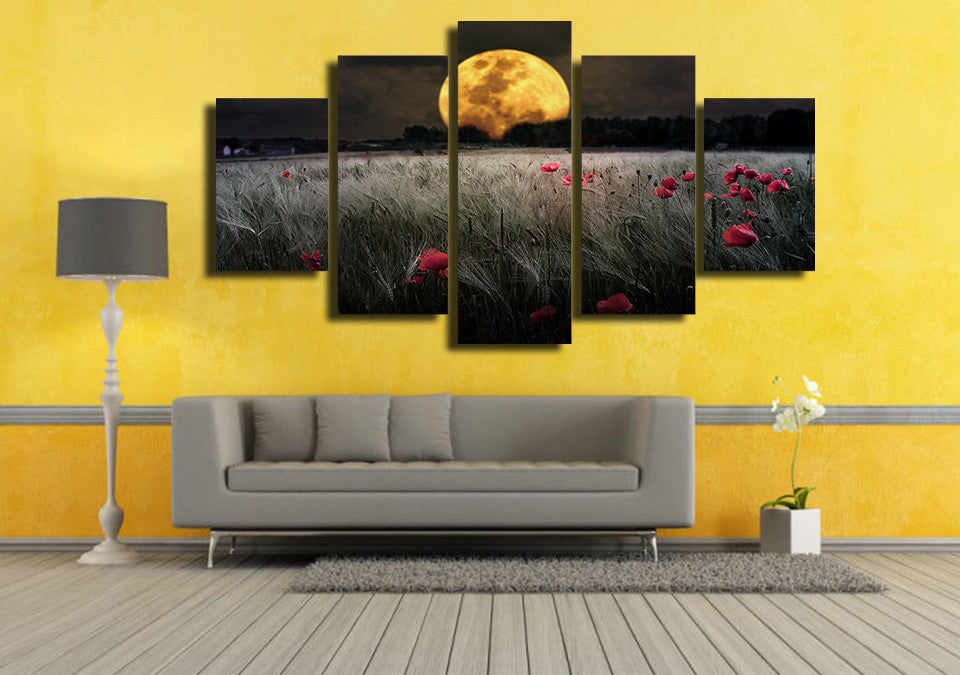Moonlight Flowers - 5 Piece Set - TheCanvasWarehouse