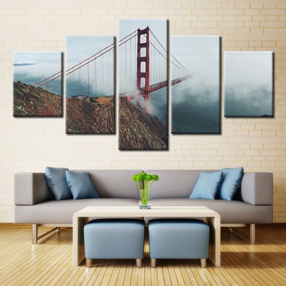 "Golden Gate Bridge ""Foggy"" - 5 Piece Set - TheCanvasWarehouse"