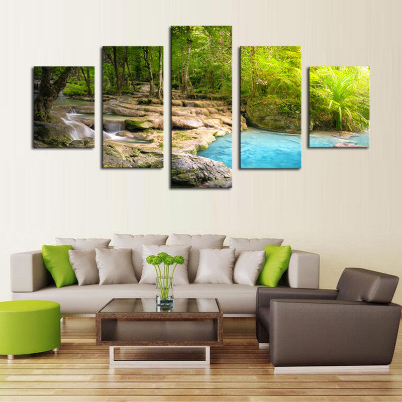Waterfall in the Forest - 5 Piece Set - TheCanvasWarehouse