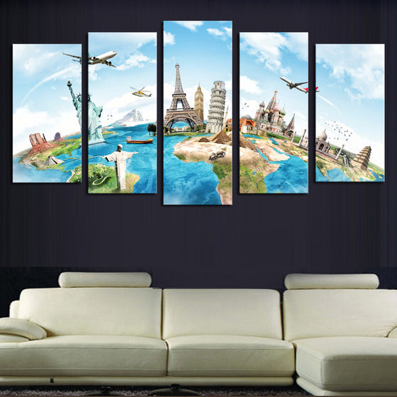 World Famous Monuments - 5 Piece Set - TheCanvasWarehouse