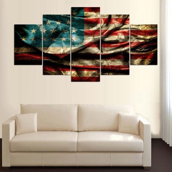 American Flag in the Wind - 5 Piece Set - TheCanvasWarehouse
