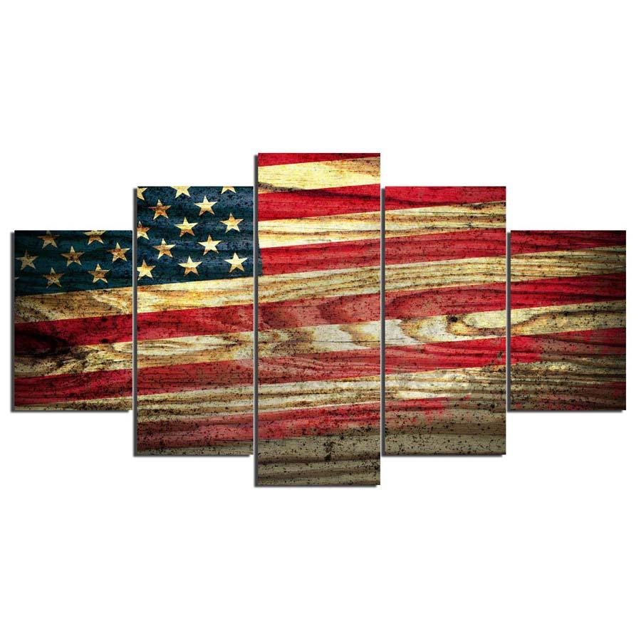 American Rustic Flag - 5 Piece Set - TheCanvasWarehouse