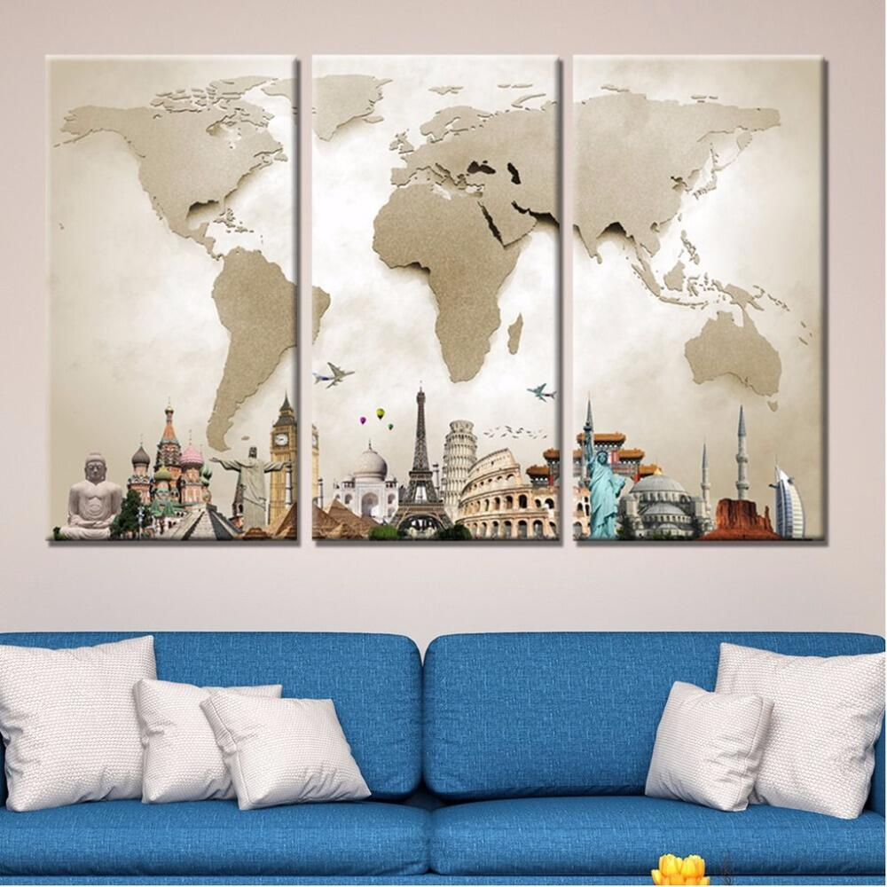 Monumental World Map Light - 3 Piece Set - TheCanvasWarehouse