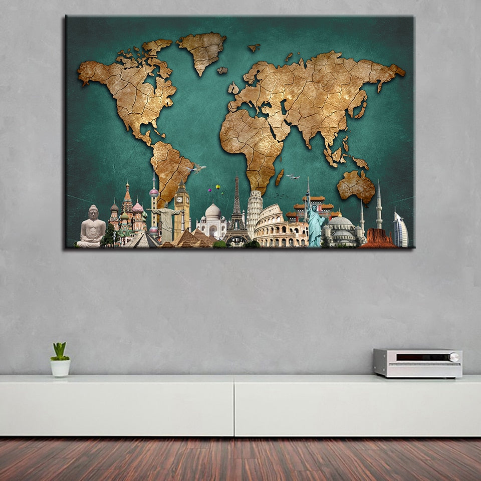 Monuments of the World Map - TheCanvasWarehouse