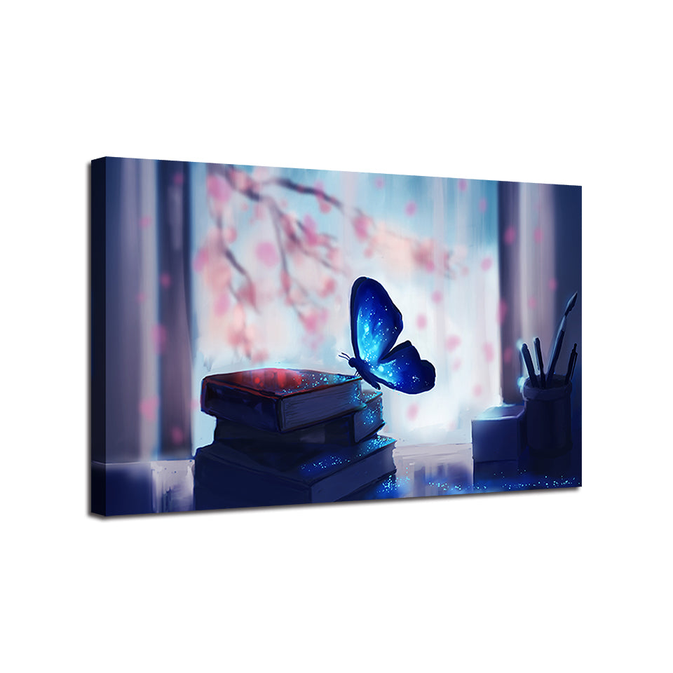 Pretty Blue Glowing Butterfly - TheCanvasWarehouse