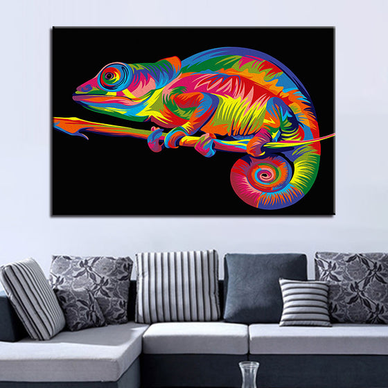 The Groovy Rainbow Chameleon - TheCanvasWarehouse