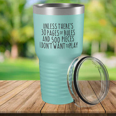 Torched Products Teal 30 Pages of Rules Laser Engraved Tumbler