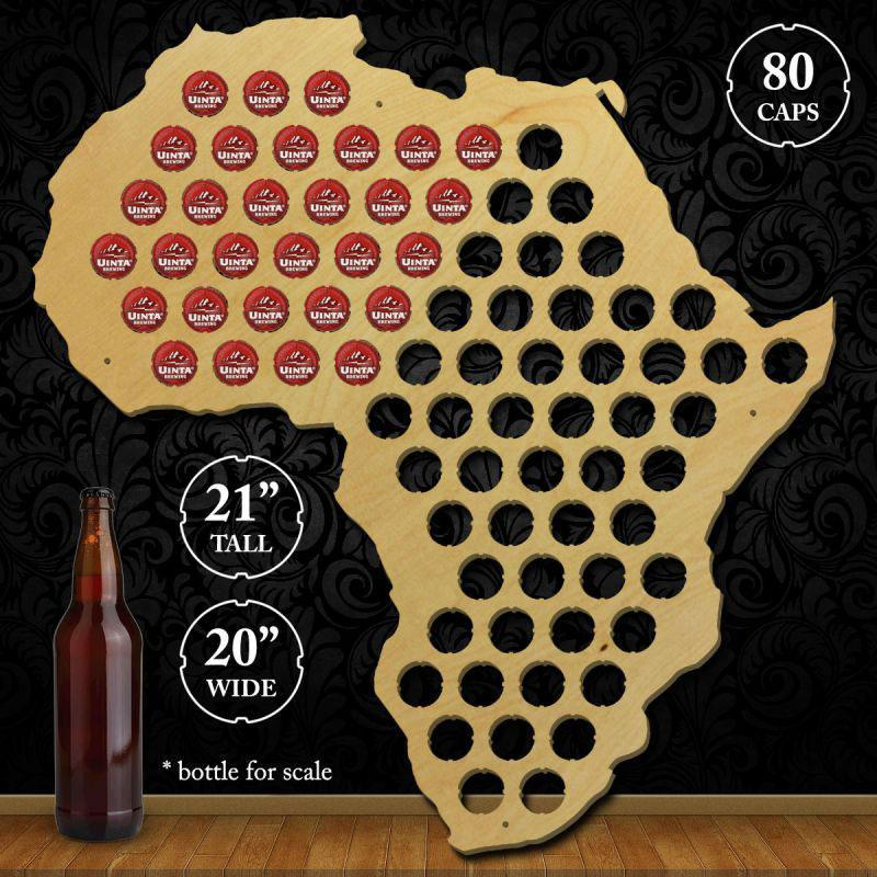 Torched Products Beer Bottle Cap Holder Africa Beer Cap Map
