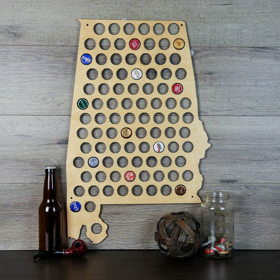 Torched Products Beer Bottle Cap Holder Alabama Beer Cap Map