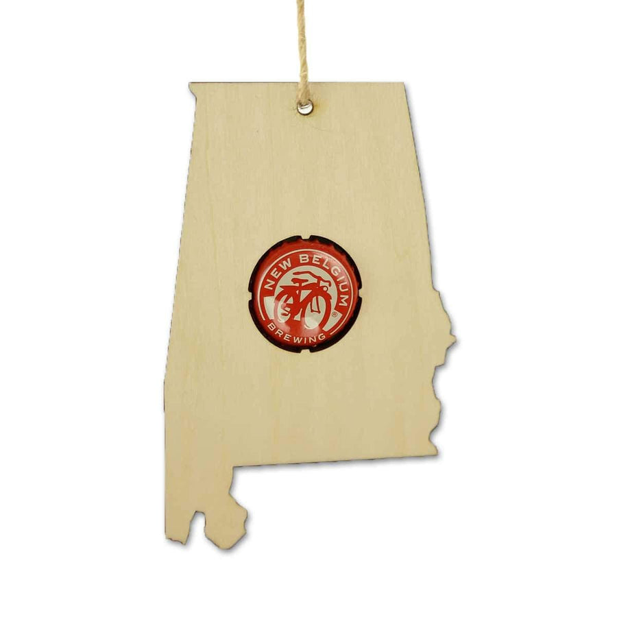 Torched Products Beer Cap Maps Alabama Beer Cap Map Ornaments