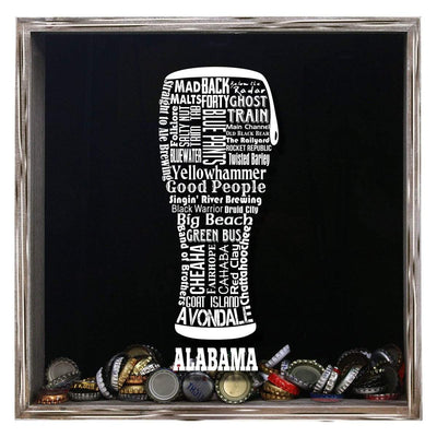 Torched Products Shadow Box Gray Alabama Beer Typography Shadow Box (779427315829)