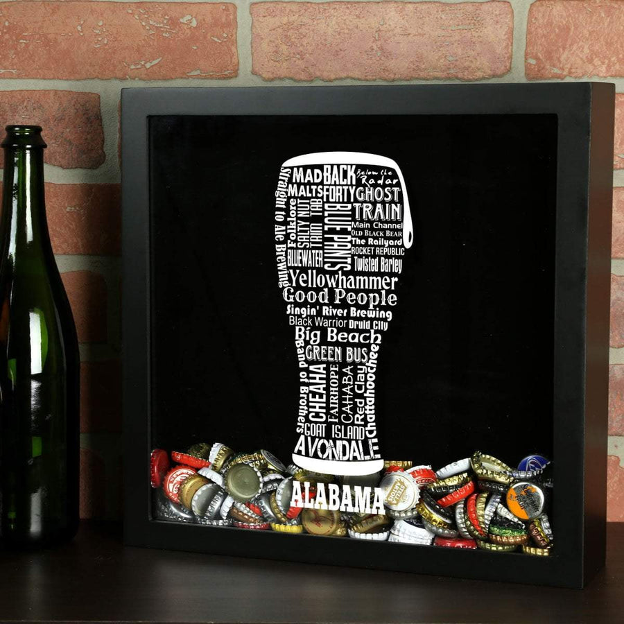 Torched Products Shadow Box Black Alabama Beer Typography Shadow Box