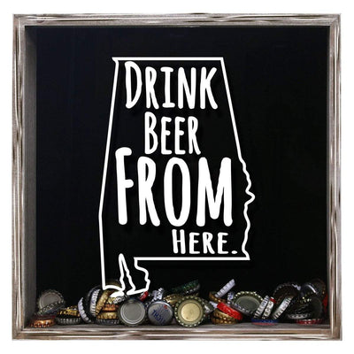 Torched Products Shadow Box Gray Alabama Drink Beer From Here Beer Cap Shadow Box (781156810869)