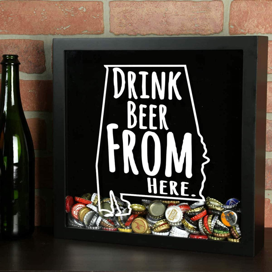 Torched Products Shadow Box Black Alabama Drink Beer From Here Beer Cap Shadow Box