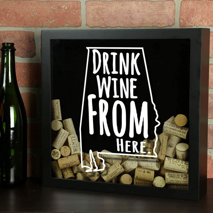 Torched Products Shadow Box Black Alabama Drink Wine From Here Wine Cork Shadow Box (795675852917)