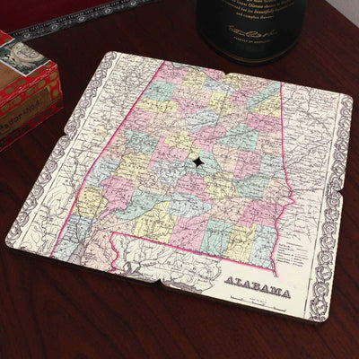 Torched Products Coasters Alabama Old World Map Coaster (790585049205)