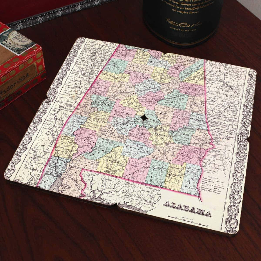 Torched Products Coasters Alabama Old World Map Coaster