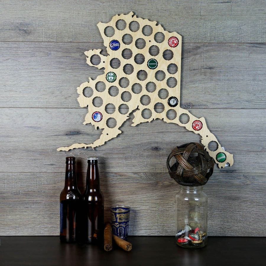 Torched Products Beer Bottle Cap Holder Alaska Beer Cap Map (777471754357)