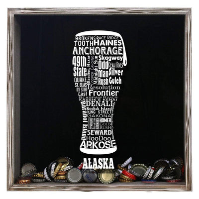 Torched Products Shadow Box Gray Alaska Beer Typography Shadow Box