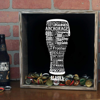 Torched Products Shadow Box Alaska Beer Typography Shadow Box (779427446901)