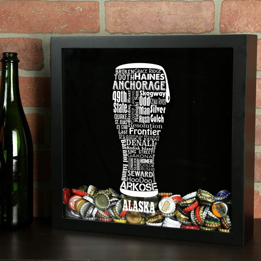 Torched Products Shadow Box Black Alaska Beer Typography Shadow Box (779427446901)