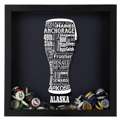 Torched Products Shadow Box Alaska Beer Typography Shadow Box