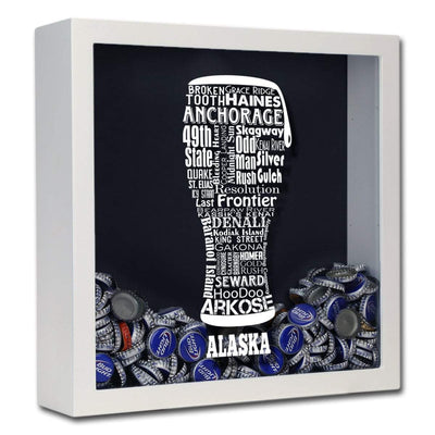 Torched Products Shadow Box White Alaska Beer Typography Shadow Box