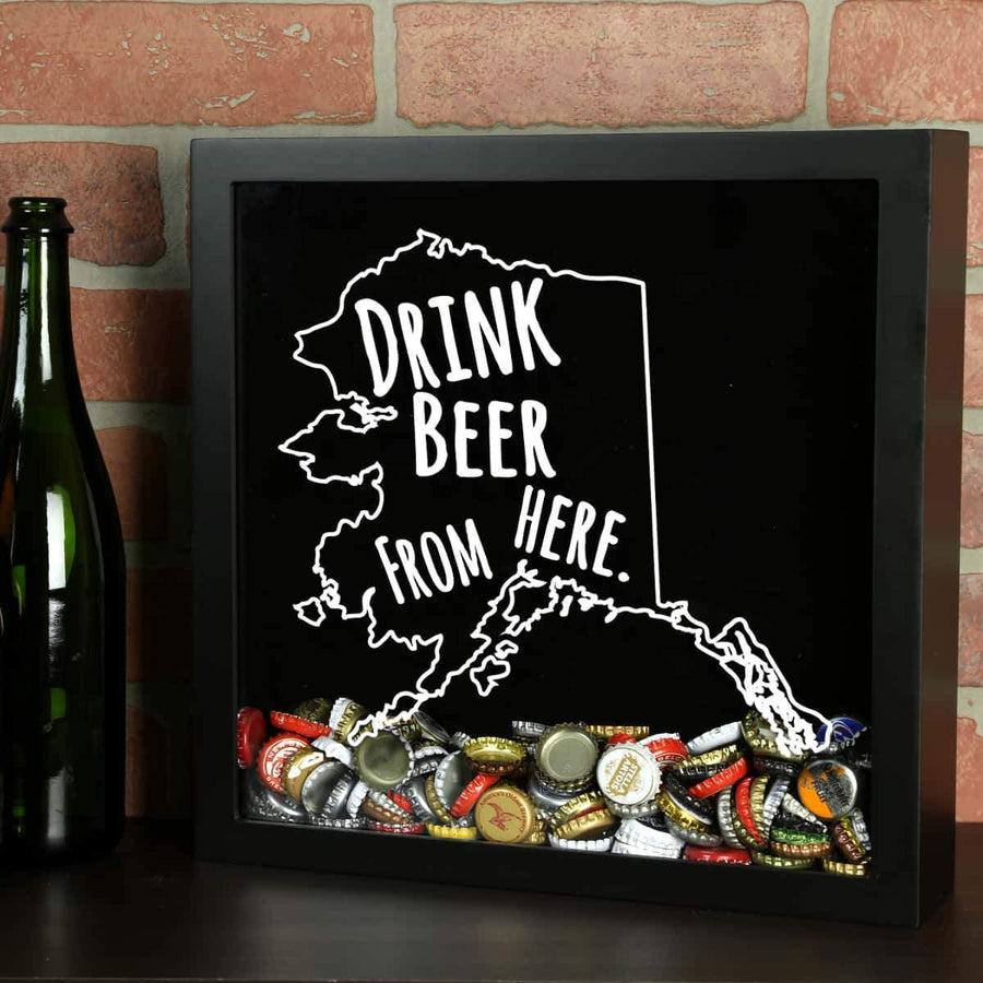 Torched Products Shadow Box Black Alaska Drink Beer From Here Beer Cap Shadow Box (781157990517)