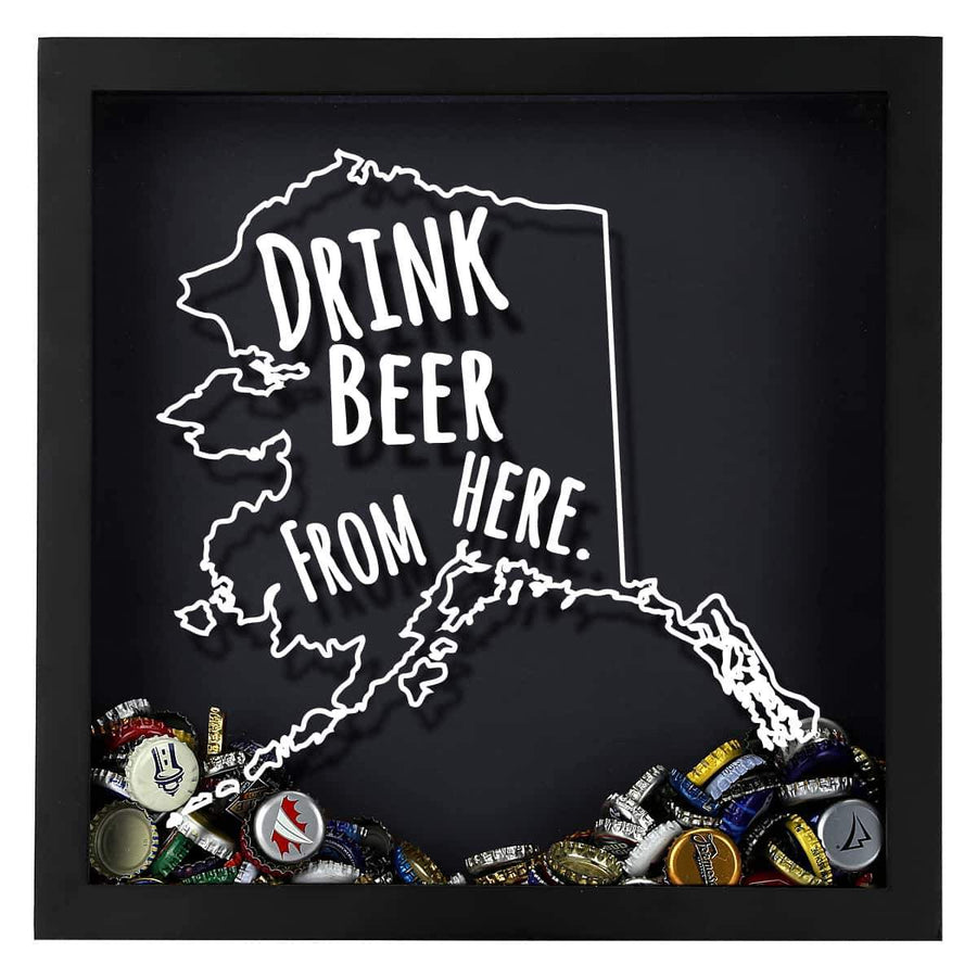 Torched Products Shadow Box Black Alaska Drink Beer From Here Beer Cap Shadow Box