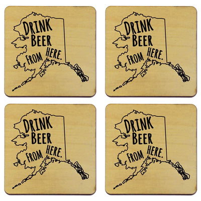 Torched Products Coasters Alaska Drink Beer From Here Coasters (781441040501)