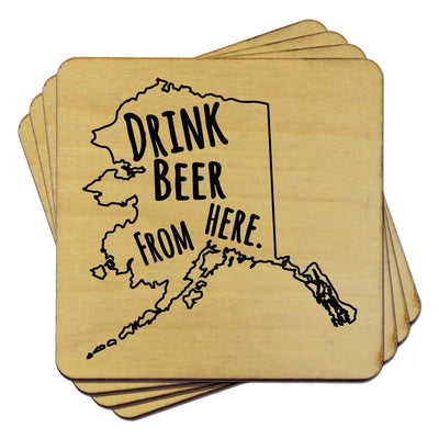 Torched Products Coasters Alaska Drink Beer From Here Coasters