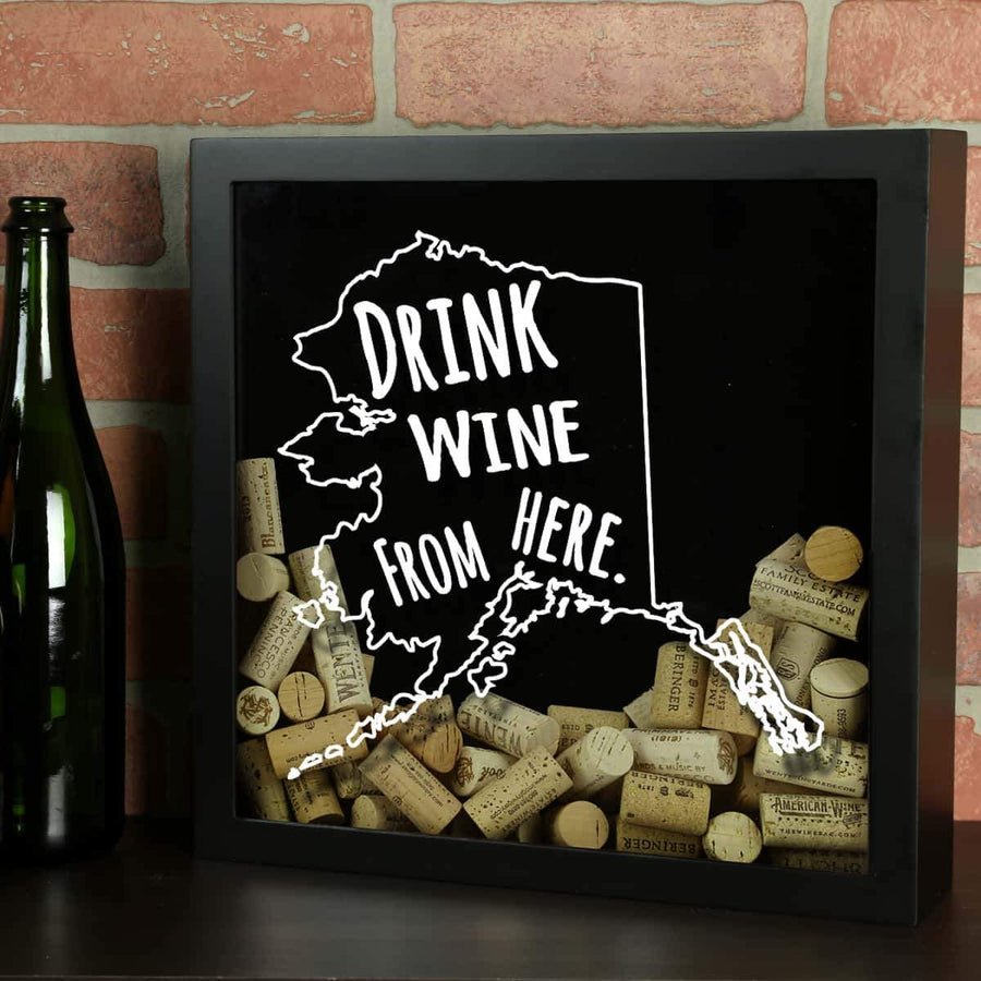 Torched Products Shadow Box Black Alaska Drink Wine From Here Wine Cork Shadow Box (795700789365)