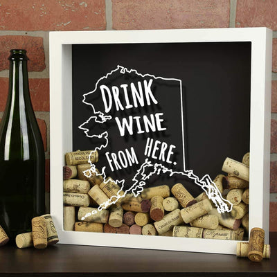 Torched Products Shadow Box Alaska Drink Wine From Here Wine Cork Shadow Box (795700789365)