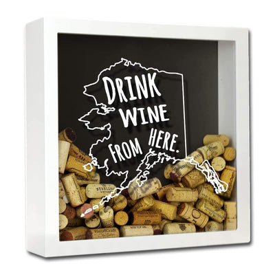Torched Products Shadow Box White Alaska Drink Wine From Here Wine Cork Shadow Box (795700789365)