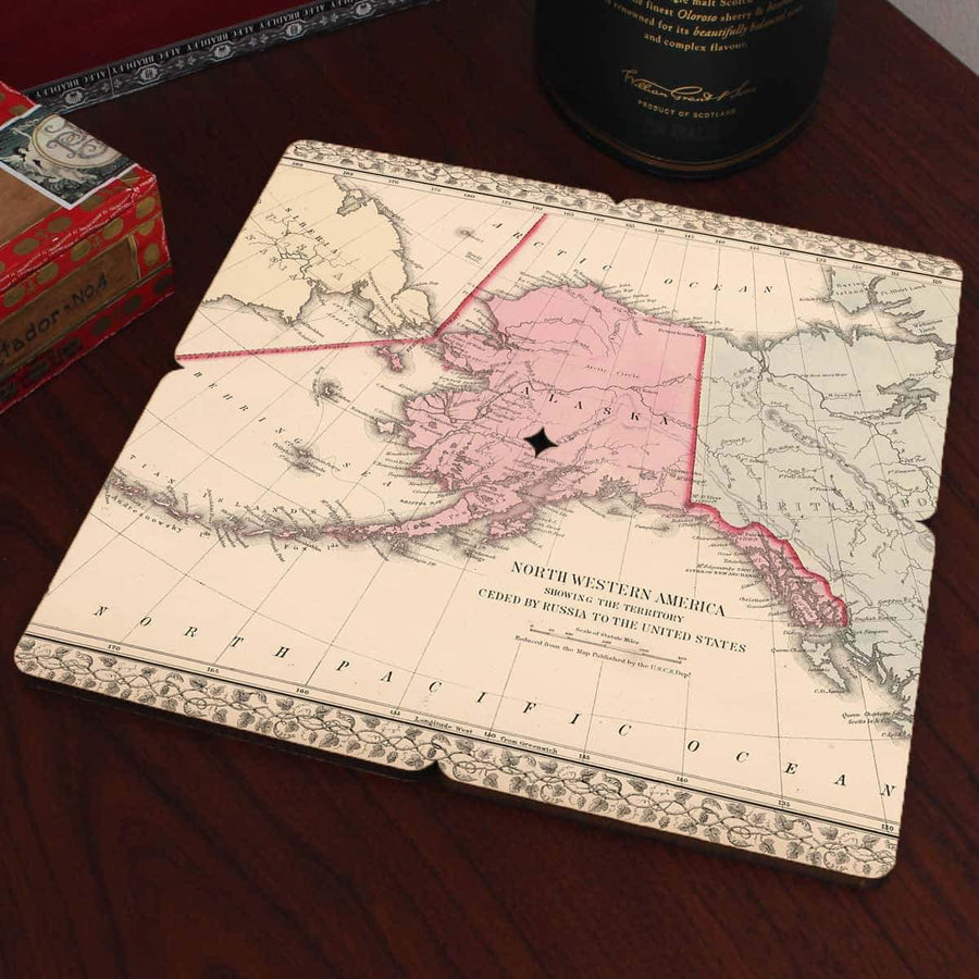 Torched Products Coasters Alaska Old World Map Coaster (790584918133)