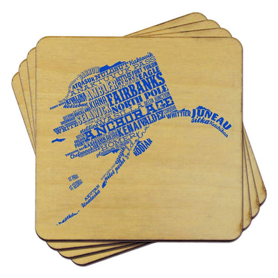 Torched Products Coasters Alaska State Typography Coaster
