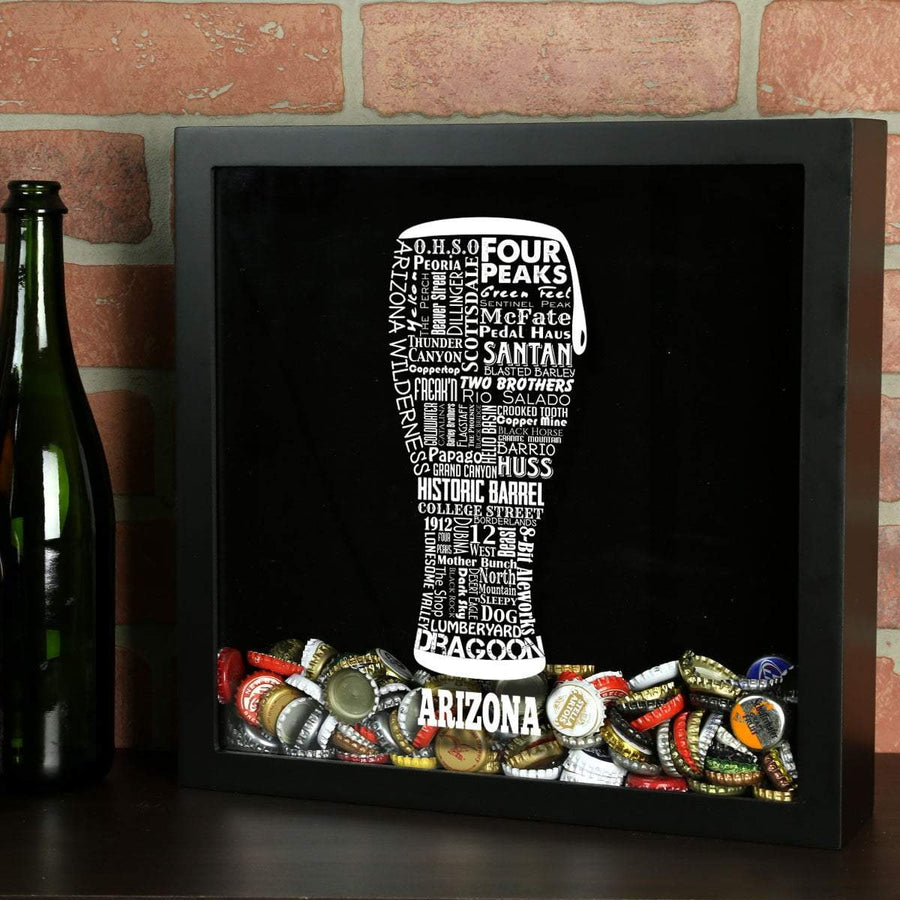 Torched Products Shadow Box Black Arizona Beer Typography Shadow Box