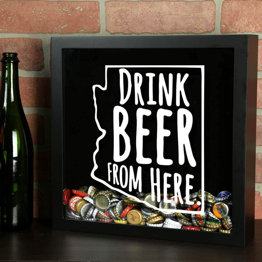 Torched Products Shadow Box Black Arizona Drink Beer From Here Beer Cap Shadow Box (781158613109)