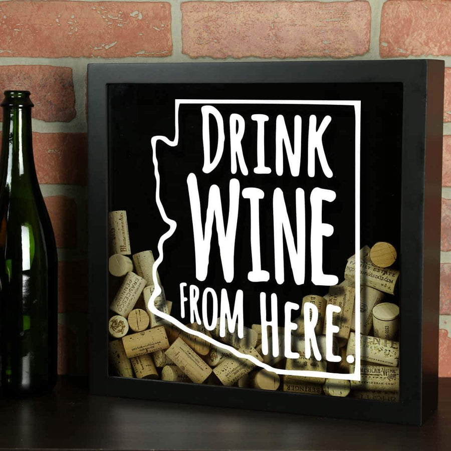 Torched Products Shadow Box Black Arizona Drink Wine From Here Wine Cork Shadow Box (795701903477)