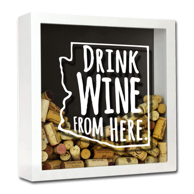 Torched Products Shadow Box White Arizona Drink Wine From Here Wine Cork Shadow Box
