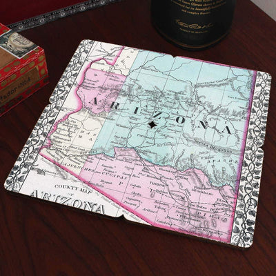 Torched Products Coasters Arizona Old World Map Coaster (790585475189)