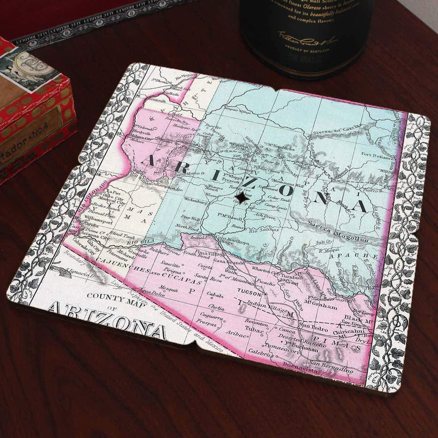 Torched Products Coasters Arizona Old World Map Coaster