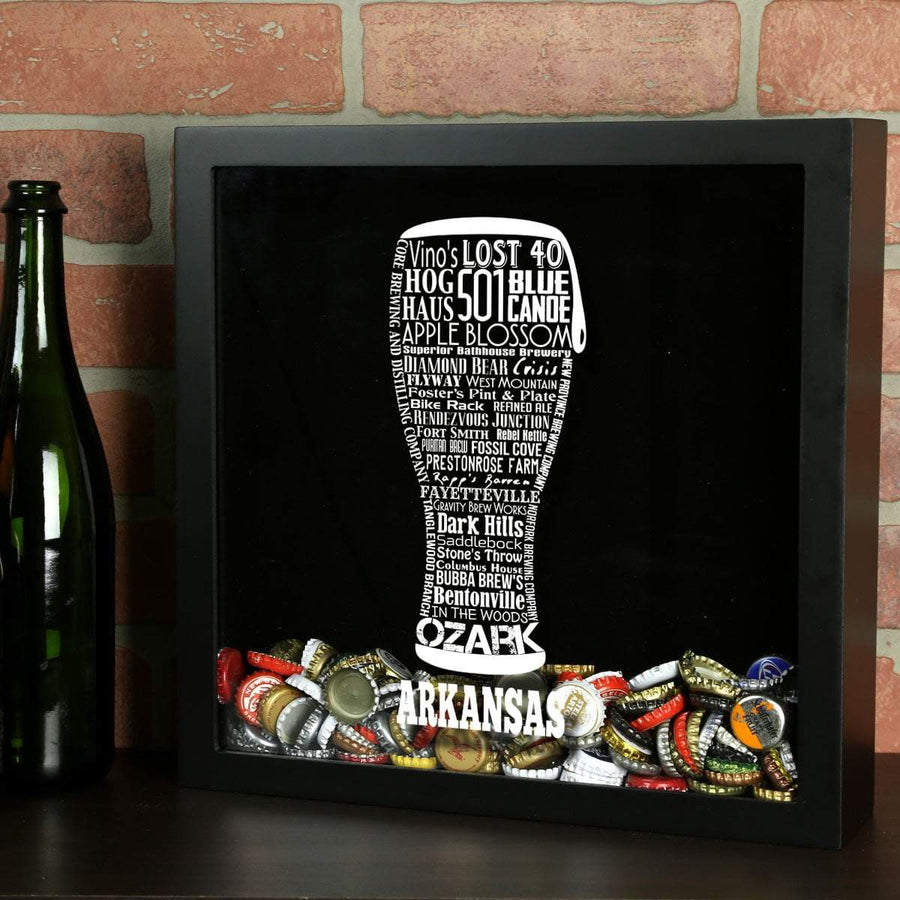 Torched Products Shadow Box Black Arkansas Beer Typography Shadow Box