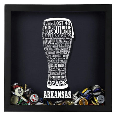 Torched Products Shadow Box Arkansas Beer Typography Shadow Box