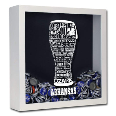 Torched Products Shadow Box White Arkansas Beer Typography Shadow Box