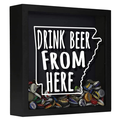 Torched Products Shadow Box Black Arkansas Drink Beer From Here Beer Cap Shadow Box
