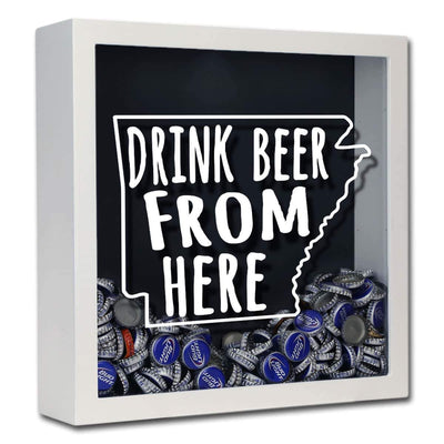 Torched Products Shadow Box White Arkansas Drink Beer From Here Beer Cap Shadow Box