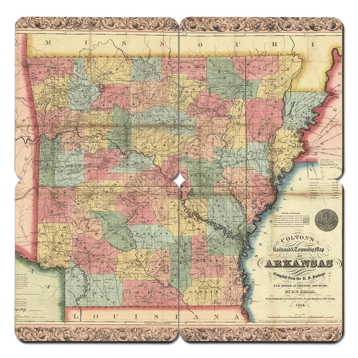Arkansas World Map.Arkansas Old World Map Coaster Torched Products